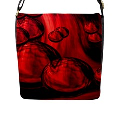 Red Bubbles Flap Closure Messenger Bag (large)