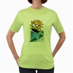 Snowboardin  Sun Womens  T Shirt (green)