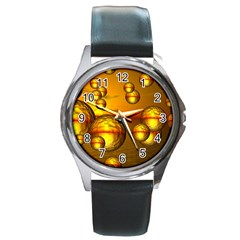 Sunset Bubbles Round Metal Watch (silver Rim)