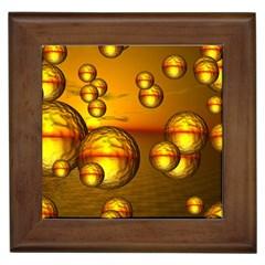 Sunset Bubbles Framed Ceramic Tile