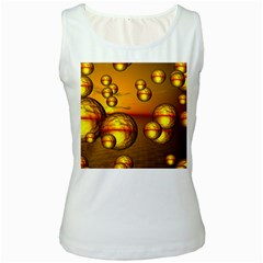 Sunset Bubbles Womens  Tank Top (White)