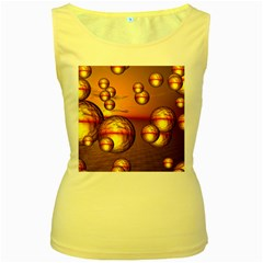 Sunset Bubbles Womens  Tank Top (Yellow)
