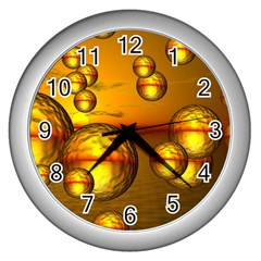 Sunset Bubbles Wall Clock (Silver)