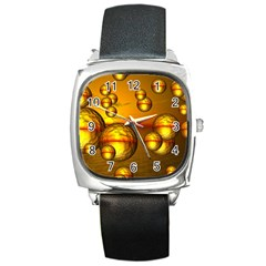 Sunset Bubbles Square Leather Watch