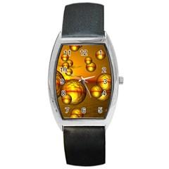 Sunset Bubbles Tonneau Leather Watch