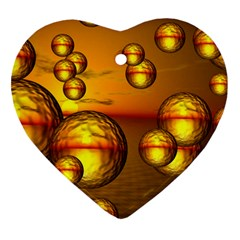 Sunset Bubbles Heart Ornament (Two Sides)