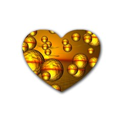 Sunset Bubbles Drink Coasters 4 Pack (Heart)
