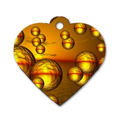 Sunset Bubbles Dog Tag Heart (Two Sided)