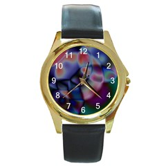 Multi-colour Round Metal Watch (Gold Rim)