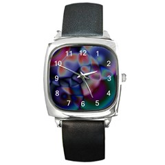 Multi-colour Square Leather Watch
