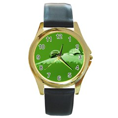Waterdrops Round Metal Watch (Gold Rim)