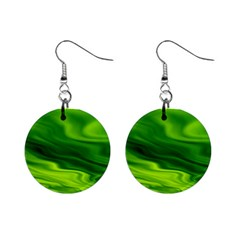 Green Mini Button Earrings
