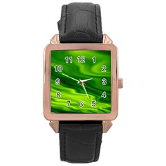 Green Rose Gold Leather Watch