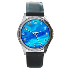 Blue Round Metal Watch (silver Rim)