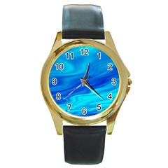 Blue Round Metal Watch (gold Rim)