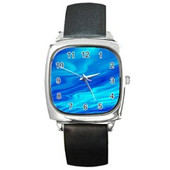 Blue Square Leather Watch
