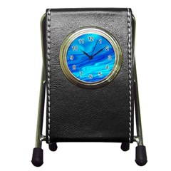 Blue Stationery Holder Clock