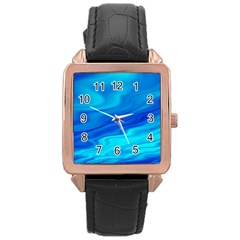Blue Rose Gold Leather Watch