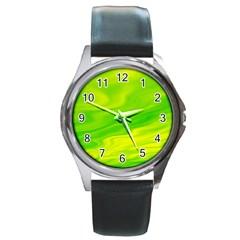 Green Round Metal Watch (Silver Rim)