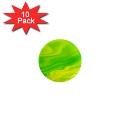 Green 1  Mini Button Magnet (10 Pack)