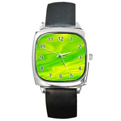 Green Square Leather Watch