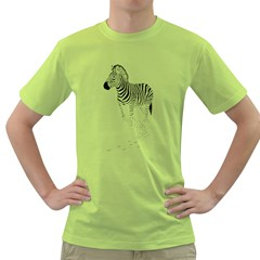 Zebra Mens  T-shirt (Green)