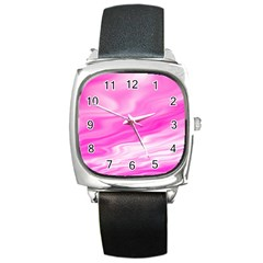 Background Square Leather Watch