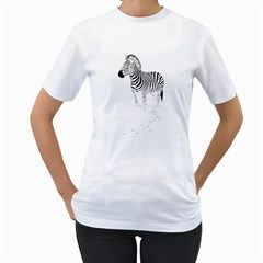 Zebra Womens  T-shirt (White)