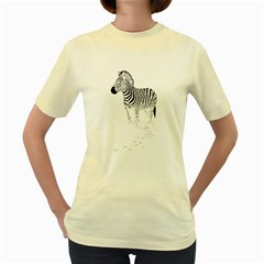 Zebra  Womens  T-shirt (Yellow)