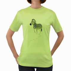Zebra Womens  T Shirt (green)