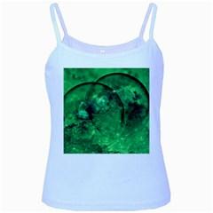 Green Bubbles Baby Blue Spaghetti Tank
