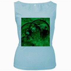 Green Bubbles Womens  Tank Top (Baby Blue)