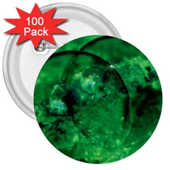 Green Bubbles 3  Button (100 pack)