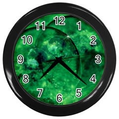 Green Bubbles Wall Clock (Black)