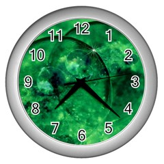 Green Bubbles Wall Clock (silver)