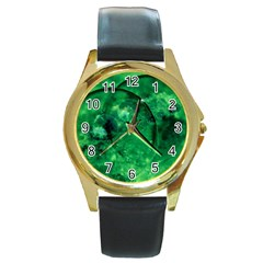 Green Bubbles Round Metal Watch (Gold Rim)
