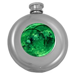 Green Bubbles Hip Flask (Round)