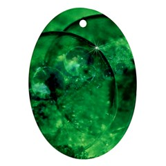 Green Bubbles Oval Ornament (two Sides)