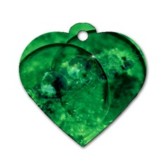 Green Bubbles Dog Tag Heart (one Sided)