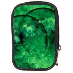 Green Bubbles Compact Camera Leather Case