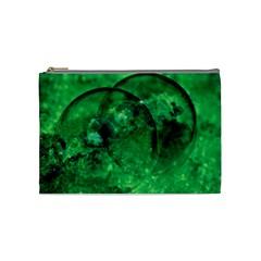 Green Bubbles Cosmetic Bag (medium)