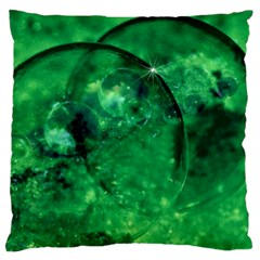 Green Bubbles Large Cushion Case (two Sided)