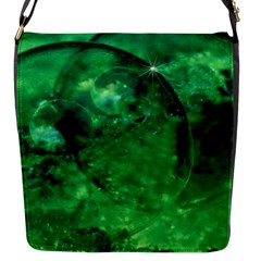 Green Bubbles Flap Closure Messenger Bag (small)