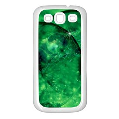 Green Bubbles Samsung Galaxy S3 Back Case (White)