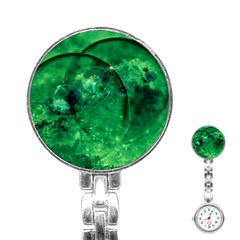 Green Bubbles Stainless Steel Nurses Watch