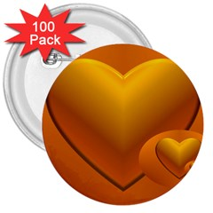 Love 3  Button (100 pack)