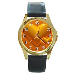 Love Round Metal Watch (Gold Rim)