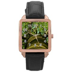 Tree Rose Gold Leather Watch