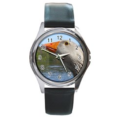 Geese Round Metal Watch (silver Rim)
