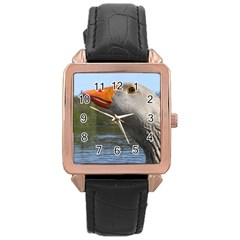 Geese Rose Gold Leather Watch
